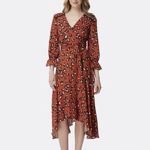 Tahari Leopard Print Handkerchief Hem Dress